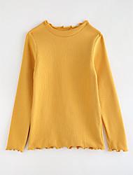 baratos -Para Meninas Camiseta Sólido Outono Algodão Desenho Azul Verde Roxo Amarelo