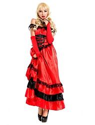 baratos -Doce Vintage Medieval Mulheres Vestidos Cosplay Vermelho Camisola Sem Manga Até o Tornozelo Midi