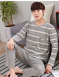 cheap -Men's Suits Pajamas,Print Print Cotton Light gray