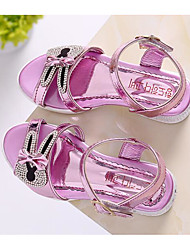 cheap -Girls' Shoes Leatherette Spring Fall Comfort Sandals for Casual Gold Silver Pink
