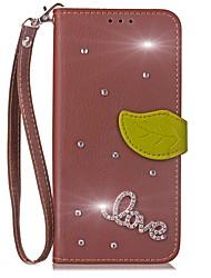 Недорогие -Кейс для Назначение LG G2 LG G3 LG LG G5 LG G4 G6 Бумажник для карт Кошелек Стразы со стендом Флип Чехол Сплошной цвет Твердый Кожа PU для