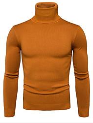 Недорогие -Муж. Однотонный На каждый день Вязаная ткань Пуловер, Повседневные Длинный рукав Хомут Смесь шерсти Осень