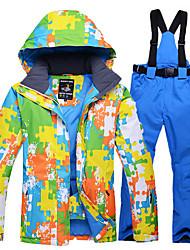 Недорогие -Муж. Лыжная куртка и брюки Теплый Водонепроницаемость С защитой от ветра Пригодно для носки Воздухопроницаемость Легкие Катание на лыжах