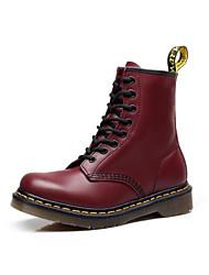 Недорогие -Для женщин Обувь Кожа Зима Осень Армейские ботинки Ботинки На толстом каблуке Круглый носок Ботинки для Повседневные Черный Коричневый