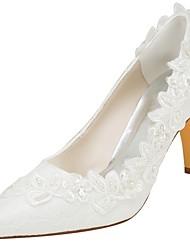 preiswerte -Damen Schuhe Stretch - Satin Frühling / Herbst Pumps Hochzeit Schuhe Stöckelabsatz Spitze Zehe Kristall / Perle Elfenbein