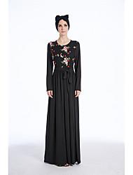 preiswerte -Damen Party Alltag Boho Street Schick Hülle Spitze Abaya Maxi Kleid,Spitze Jacquard Rundhalsausschnitt Langärmelige Hohe Taillenlinie