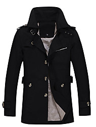 cheap -Men's Daily Going out Simple Casual Street chic Punk & Gothic Winter Fall Trench coat,Solid Shirt Collar Long Sleeves Regular Cotton