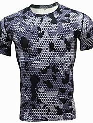 Hombre Casual Punk & Gótico Diario Deportes Primavera Verano Camiseta,Escote Redondo A Cuadros Mangas largas Poliéster