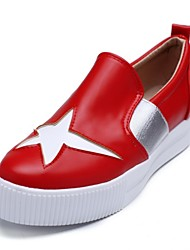 cheap -Women's Shoes Customized Materials / Leatherette Spring / Fall Novelty Loafers & Slip-Ons Platform Round Toe White / Black / Red