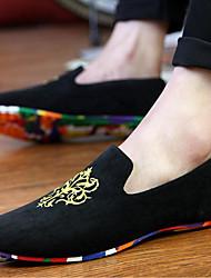 abordables -Homme Chaussures Toile Eté Confort Mocassins et Chaussons+D6148 Couture en Dentelle pour Décontracté Noir Bleu de minuit Rouge