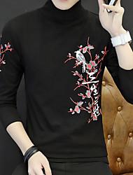 Masculino Camiseta Para Noite Vintage Sólido Algodão Decote Redondo Manga Comprida
