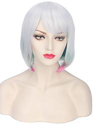 abordables -Pelucas sintéticas Ondulado Con flequillo Pelo sintético Pelo reflectante / balayage / Parte lateral Gris Peluca Mujer Corta Sin Tapa