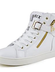 Masculino sapatos Couro Envernizado Inverno Outono Conforto Tênis Botas Curtas / Ankle para Atlético Casual Branco Preto