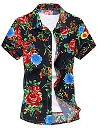 cheap -Men's Casual/Daily Chinoiserie Summer Shirt,Floral Square Neck Short Sleeve Cotton Polyester Medium