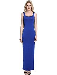 cheap -Women's Party Daily Vintage Casual Sexy Bodycon Sheath Dress,Solid Strap Maxi Sleeveless Rayon Polyester Spandex All Season Spring High