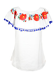 cheap -Women's Going out T-shirt - Floral Color Block Ruffle Boat Neck