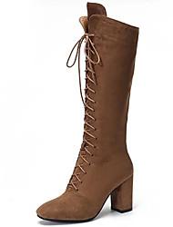 abordables -Mujer Zapatos Piel Otoño / Invierno Botas de nieve / Botas de Moda / Botas de Combate Botas Tacón Cuadrado Dedo redondo Hasta la Rodilla