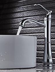 Art Déco/Rétro Set de centre Séparé Soupape céramique Mitigeur un trou Plaqué , Robinet lavabo