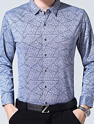 Masculino Camisa Social Casual Trabalho Temática Asiática Inverno Outono,Listrado Geométrica Algodão Colarinho de Camisa Manga Comprida