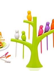 economico -6 pz / set forma di uccelli creativo frutta verdura forcella stoviglie stoviglie imposta accessori da cucina