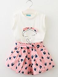 Pige Tøjsæt Daglig I-byen-tøj Ensfarvet Blomstret Trykt mønster,Bomuld Sommer Uden ærmer Sødt Aktiv Lyserød Gul