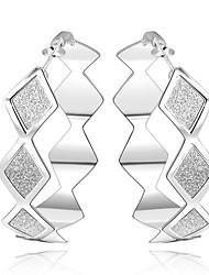 baratos -Mulheres Prata Chapeada Brincos Compridos / Brincos em Argola - Casual / Fashion / Doce Prata Formato Circular / Forma Geométrica Brincos