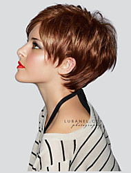cheap -Women Human Hair Capless Wigs Strawberry Blonde/Light Blonde Medium Auburn Natural Black Short Straight Pixie Cut Layered Haircut Side