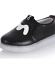 cheap -Girls' Shoes PU Spring Fall Light Up Shoes Loafers & Slip-Ons LED for Casual Outdoor Black White