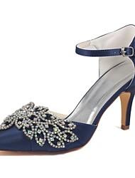 economico -Per donna Scarpe Raso elasticizzato Primavera / Estate Decolleté scarpe da sposa A stiletto Appuntite Cristalli Blu scuro