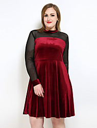 cheap -Cute Ann/Really Love Women's Club Vintage Cute Velvet A Line Sheath Swing Dress - Solid Colored Color Block Mesh High Waist Turtleneck