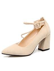 preiswerte -Damen Schuhe Nubukleder Kunstleder Frühling Komfort Pumps High Heels Blockabsatz Spitze Zehe Booties / Stiefeletten Schleife für Kleid