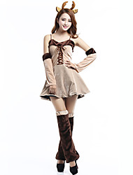 cheap -Reindeer Cosplay Costume Women's Christmas Festival / Holiday Halloween Costumes Beige Color Block Dresses Cosplay