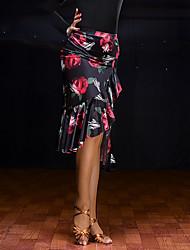 cheap -Latin Dance Bottoms Women's Performance Velvet Chiffon Pleated Sleeveless Natural Skirts