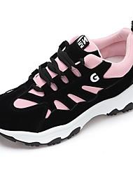 baratos -Mulheres Sapatos Camurça Primavera Outono Conforto Tênis Fitness Sem Salto Ponta Redonda Dedo Fechado Rendado para Atlético Casual Verde
