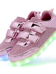 Girls' Shoes Other Animal Skin Spring Fall Comfort Sneakers Walking Shoes Magic Tape for Casual Gold Silver Pink