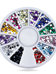 cheap -Nail Rhinestones DecorationsMix 12colors 1.5mm Glitter Acrylic Flatback Nail Tip Gems Wheel3d Manicure Tools Nail Art Supplies