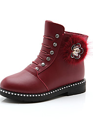 Girls' Shoes Leather PU Winter Fall Combat Boots Fluff Lining Boots Booties/Ankle Boots Mid-Calf Boots for Casual Dress Black Red Burgundy