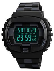 Недорогие -SKMEI Для пары Цифровой Спортивные часы Китайский Календарь Защита от влаги Фосфоресцирующий Хронометр С двумя часовыми поясами PU Группа