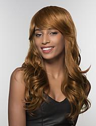 Недорогие -Человеческие волосы без парики Натуральные волосы Волнистый Боковая часть Длинные Машинное плетение Парик Жен.