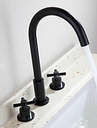 Недорогие -Традиционный Разбросанная Широко распространенный Керамический клапан Две ручки три отверстия Начищенная бронза, Ванная раковина кран