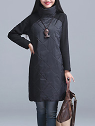 cheap -Women's Daily Going out Casual Street chic Loose Dress,Patchwork Turtleneck Above Knee Long Sleeve Cotton Spandex Winter Spring Mid Rise