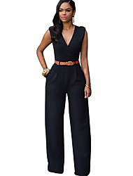 cheap -Women's Party Daily Simple Street chic Solid V Neck Jumpsuits,Wide Leg Sleeveless Fall All Seasons Cotton Polyester