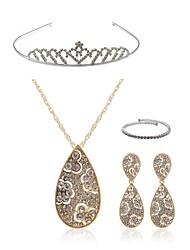 baratos -Mulheres Gema Imitações de Diamante Caído Conjunto de jóias Jóias para o Corpo / 1 Colar / Brincos - Fashion / Europeu Dourado Tiaras /