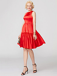 cheap -A-Line Princess Jewel Neck Short / Mini Satin Cocktail Party Dress with Bow(s) Pleats by TS Couture®