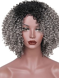cheap -Synthetic Wig Afro Layered Haircut Synthetic Hair Ombre Hair Gray Wig Women's Short Capless
