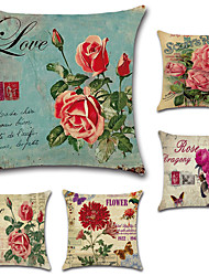 cheap -Set Of 5 American Country Rose Flowers Pillow Cover Classic Square Sofa Cushion Cover 45*45Cm Pillow Case