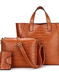 baratos -Mulheres Bolsas PU Conjuntos de saco 3 Pcs Purse Set Ziper Marron / Vinho / Khaki