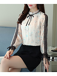 cheap -Women's Daily Casual Blouse,Print Round Neck Long Sleeve Silk