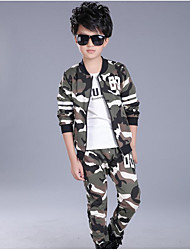 cheap -Boys' Daily Sports Striped Print Camouflage Clothing Set,Cotton Polyester Spring Fall Long Sleeve Casual Street chic Punk & Gothic Army