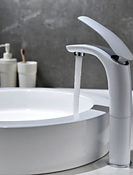 abordables -Moderno Conjunto Central Separado Válvula Cerámica Sola manija Un agujero Pintura , Baño grifo del fregadero